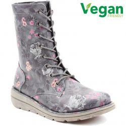 Heavenly Feet Womens Martina 2 Vegan Boots - Black Floral