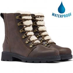 Sorel Womens Lennox Lace Cozy Waterproof Ankle Boots - Blackened Brown