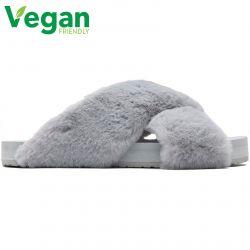 Toms Womens Susie Vegan Slippers - Mid Grey Faux Fur