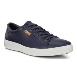 Ecco Shoes Mens Soft 7 Leather Trainers - Marine Powder