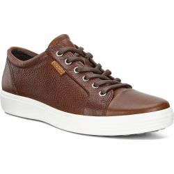 Ecco Shoes Mens Soft 7 Leather Trainers - Whisky