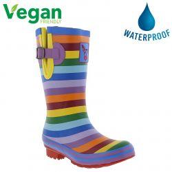 Evercreatures Womens Rainbow Short Vegan Wellies - Multi