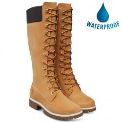Timberland Womens Premium 14 Inch Tall Lace Up Waterproof Boots - Wheat - 3752R