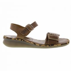 Fly London Womens Comb Leather Wedge Jesus Sandals - Camel