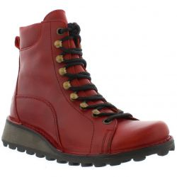 Fly London Womens Malu Leather Wedge Ankle Boots - Red