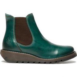 Fly London Salv Womens Leather Wedge Chelsea Ankle Boots - Petrol