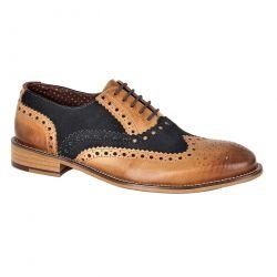 London Brogues Mens Gatsby WIDE Shoes - Tan Navy