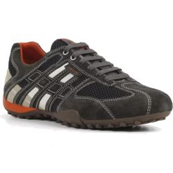 Geox Mens Snake K Breathable Trainers - Dark Grey Off White