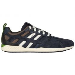 Geox Mens Snake 2 Leather Breathable Trainers Shoes - Dark Avio Stone