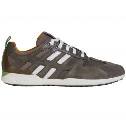 Geox Mens Snake 2 Leather Breathable Trainers Shoes - Stone Dark Avio