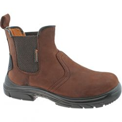Grafters Mens Slip On Extra Wide Steel Toe Cap Chelsea Boots - Brown