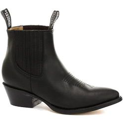 Grinders Mens Maverick Western Cowboy Pointed Toe Ankle Boots - Black
