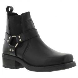 Gringos Mens Harley Low Harness Chelsea Biker Ankle Boots - Black