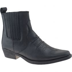 Woodland Mens Leather Cowboy Western Ankle Boots - Black