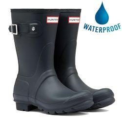 Hunter Womens Original Short Wellies Rain Boots - Navy