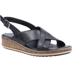 Hush Puppies Womens Elena Slingback Wedge Sandals - Black