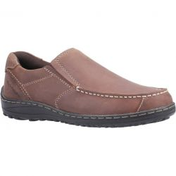 Hush Puppies Mens Thomas Wide Fit Slip On Shoes - Brown