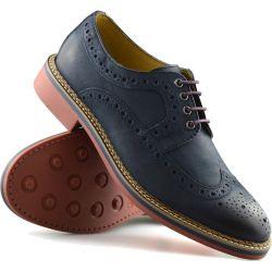 Ikon Mens Hazel Brogue Shoes - Navy