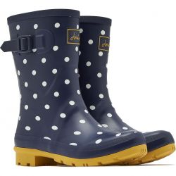 Joules Womens Molly Welly Short Wellington Boots - French Navy Spots