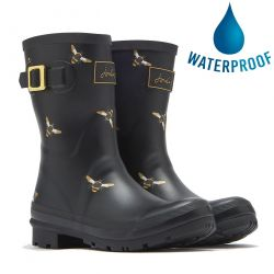 Joules Womens Molly Welly Short Wellington Boots - Black Metallic Bees
