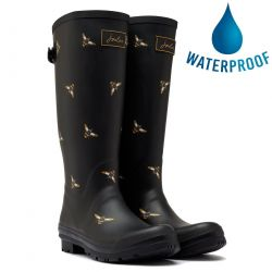 Joules Womens Welly Print Tall Wellies Wellington Boots - Black Metallic Bees