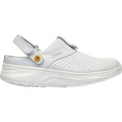 Joya Womens IQ ESD Leather Clog Shoes - White