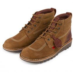 Kickers Mens Kick Hi Mash Up Leather Ankle Boots - Tan Tumbled Nubuck