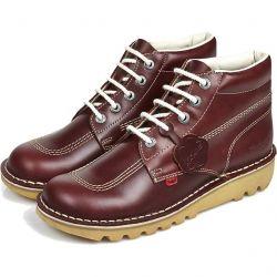 Kickers Mens Kick Hi Core Leather Boots - Dark Red