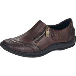 Rieker Womens L1761 Zip Up Slip On Shoes - Brown Havanna