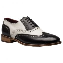 London Brogues Mens Gatsby Shoes - Black White