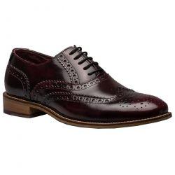 London Brogues Mens Gatsby Shoes - Bordo