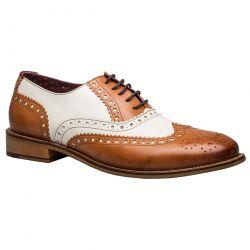 London Brogues Mens Gatsby Shoes - Tan White