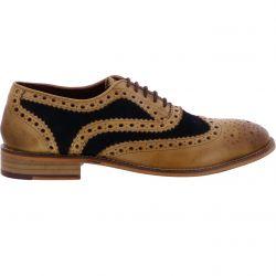 London Brogues Mens Watson Shoes - Tan Navy