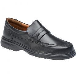 Roamers Mens Wide Fit Leather Slip On Shoe - Black - M707A