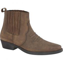 Woodland Mens Nebraska Leather Cowboy Western Boot - Waxy Brown