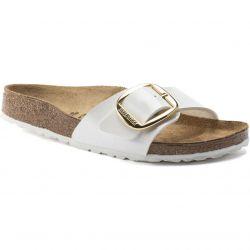 Birkenstock Womens Madrid Big Buckle Regular Fit Sandals - White Patent