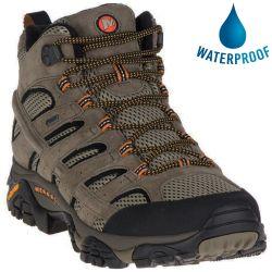 Merrell Mens Moab 2 Mid GTX Leather Waterproof Walking Boots - Pecan