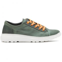 On Foot Mens Basket Canvas Lace Up Trainers Shoes - Kaky