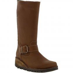 Oxygen Womens Danube Mid Calf Wedge Heel Boots - Cognac