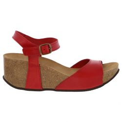 Oxygen Womens Malaga Leather Wedge Platform Sandals - Red