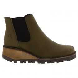Oxygen Womens Medway Ankle Wedge Boots - Olive