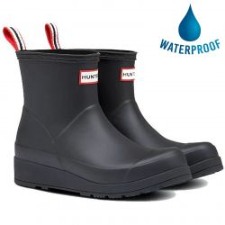 Hunter Womens Original Play Short Wedge Platform Wellies Rain Boots - Black