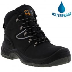 Grafters Mens M330A Waterproof Steel Toe Safety Boots - Black