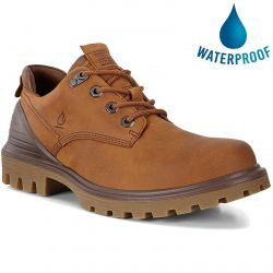 Ecco Shoes Mens Tredtray Waterproof Leather Shoes - Amber Cocoa Brown