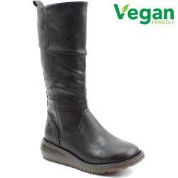 Heavenly Feet Womens Robyn 2 Vegan Wedge Boots - Black