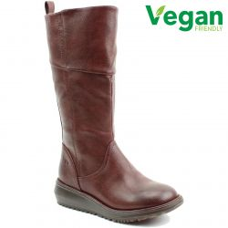 Heavenly Feet Womens Robyn 2 Vegan Wedge Boots - Chocolate