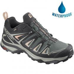 Salomon Womens X Ultra 3 GTX Waterproof Walking Hiking Trainers Shoes - Balsam Green Mineral Grey Bellini