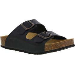 Plakton Womens Malaga Adjustable Slide Sandals - Black