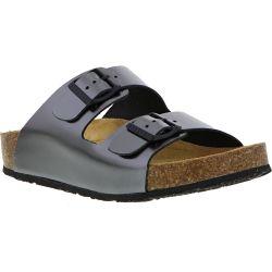 Plakton Womens Malaga Adjustable Slide Sandals - Pewter
