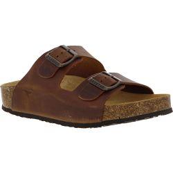 Plakton Womens Malaga Adjustable Slide Sandals - Tan